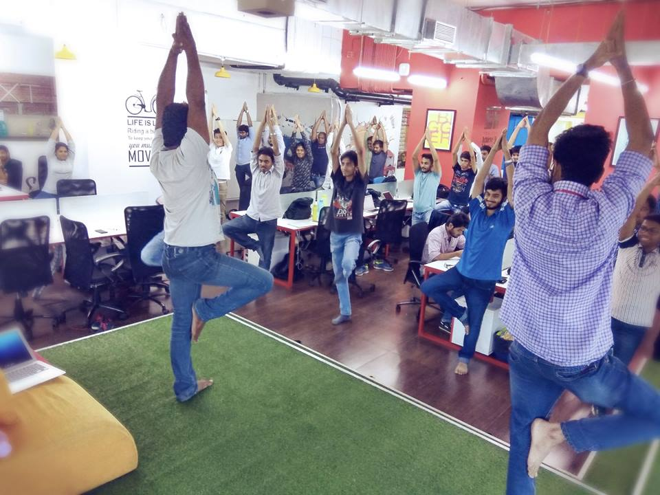 LogiNext - Yoga session on work station